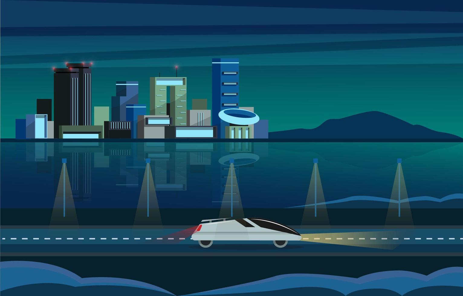 City Building Scenery Modern Style vector