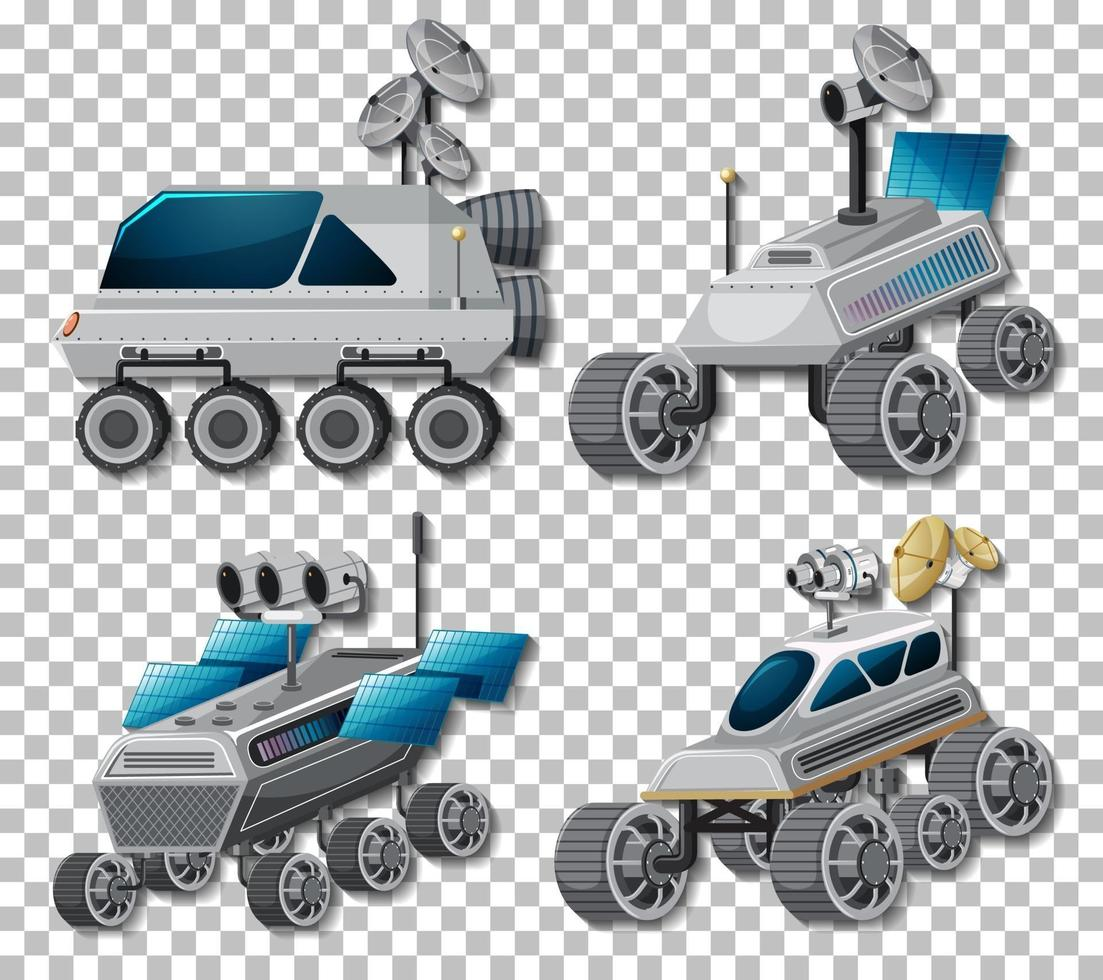 Set of different space vehicles and satellites isolated vector
