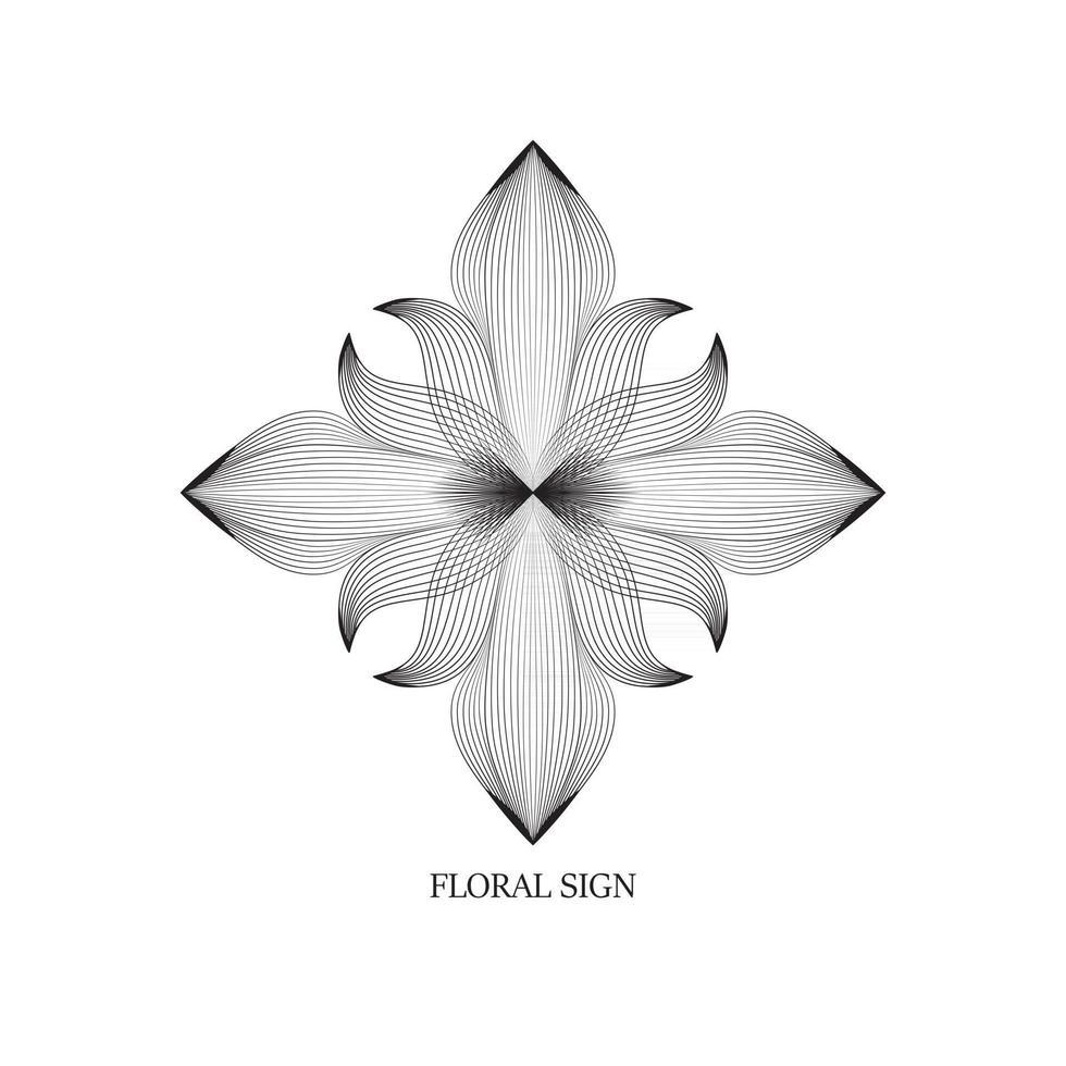 Abstract elegant flower logo icon line art design. Universal creative premium floral drawn symbol. vector