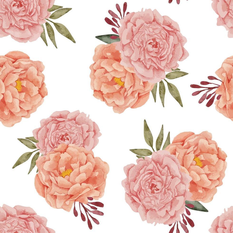 seamless pattern watercolor peony flower arrangement vector