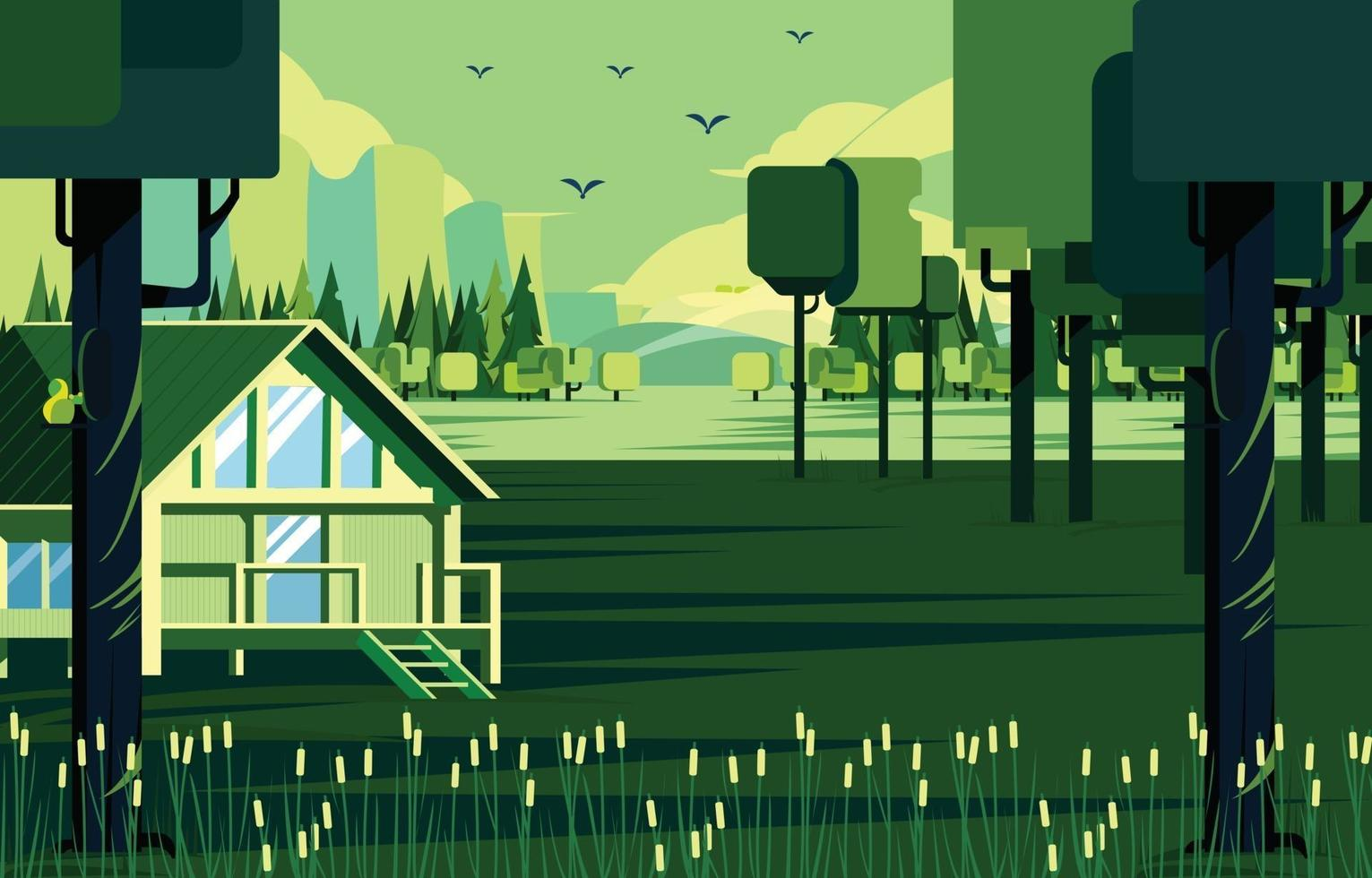 Nature Living Cottage In The Green Forest Concept vector