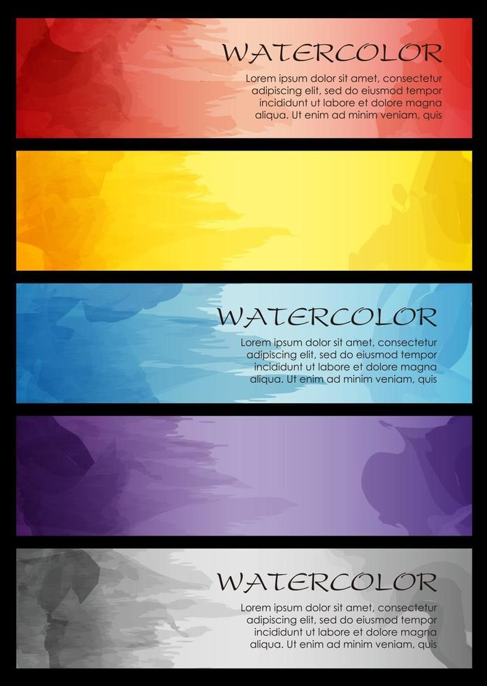 Set Of Vector Card Templates With Text Space And Watercolor Paintings Isolated On A Dark Background.