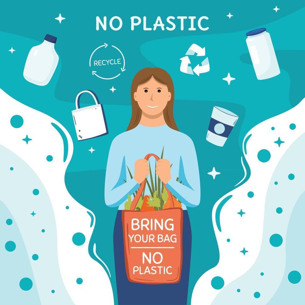 Say No Plastic Concept Illustration vector