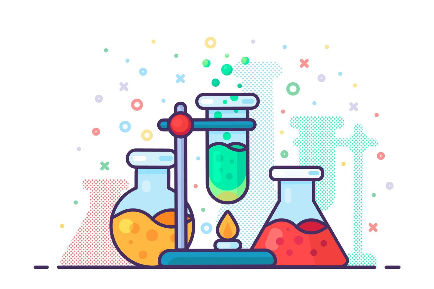 Chemistry laboratory experiment tool icon vector