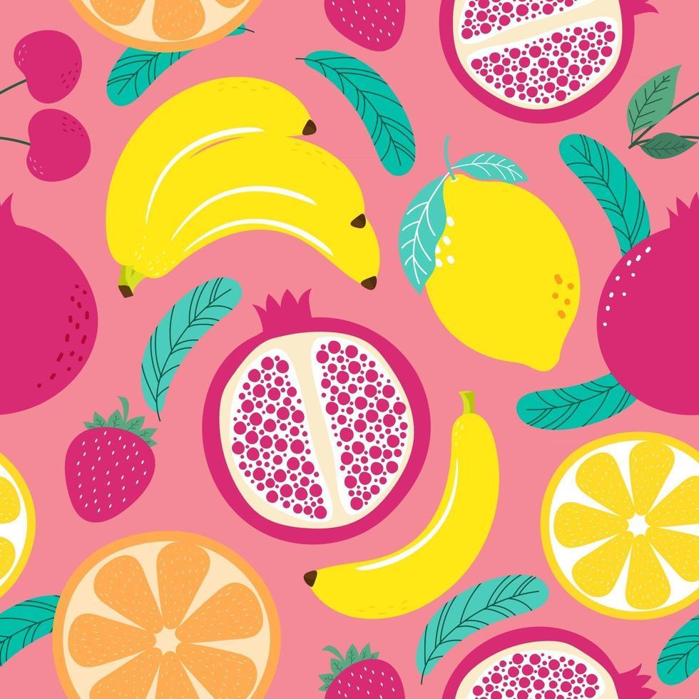 Hand drawn cute seamless pattern  fruits, Orange, Banana, Pomeganate, Cherry, Strawberry, Lemon and leaf on pink pastel background. Vector illustration.