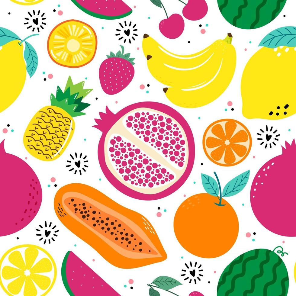 Hand drawn cute seamless pattern  fruits, Orange, Banana, Pomegranate, Cherry, Strawberry, Pineapple, Watermelon, Lemon and leaf on white  background. Vector illustration.