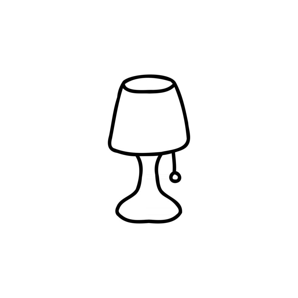 night lamp doodle sketch style icon. isolated on white background simple ink hand drawn Vector illustration