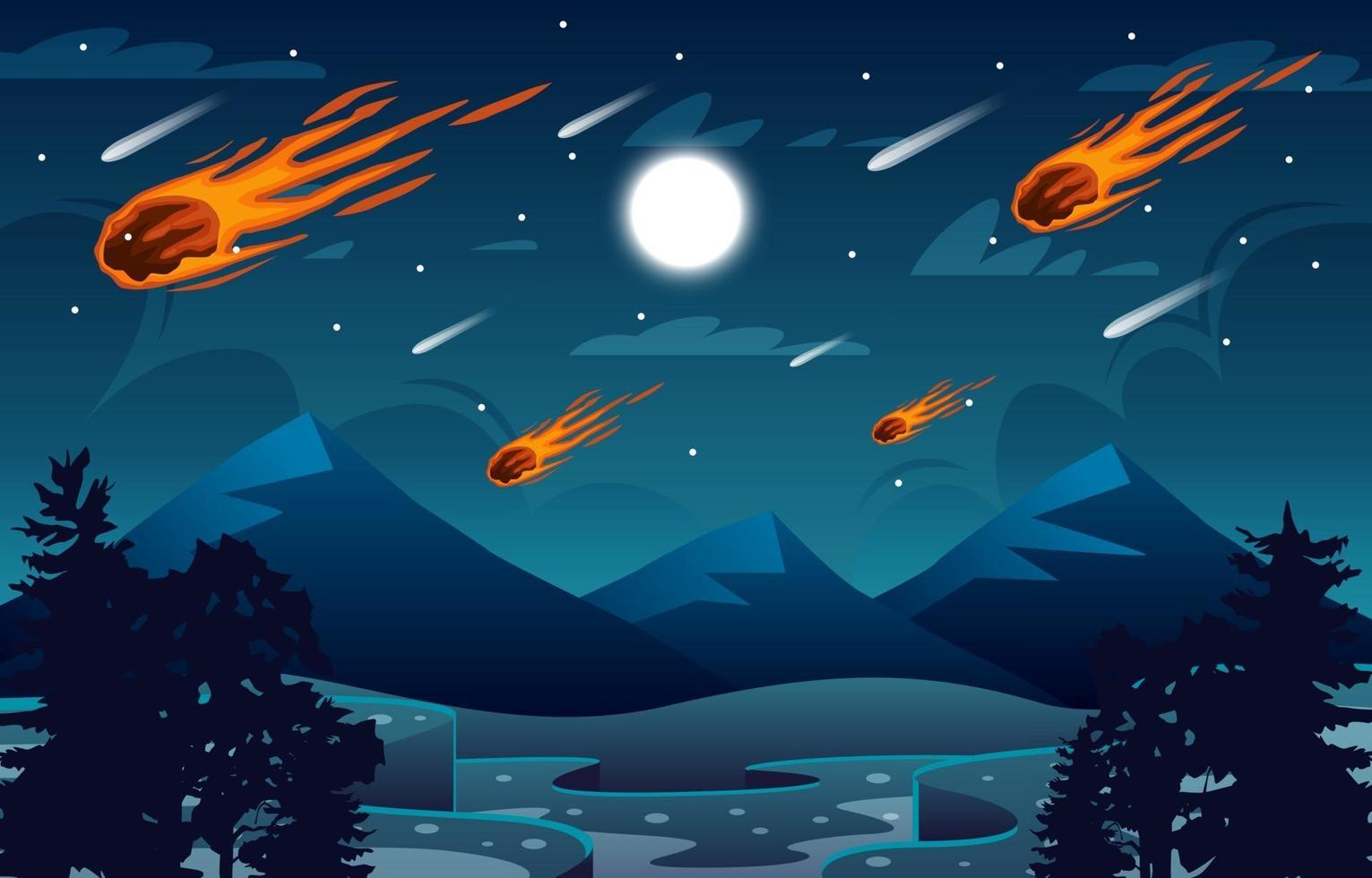 Meteor Over the Mountain Scenery Background vector
