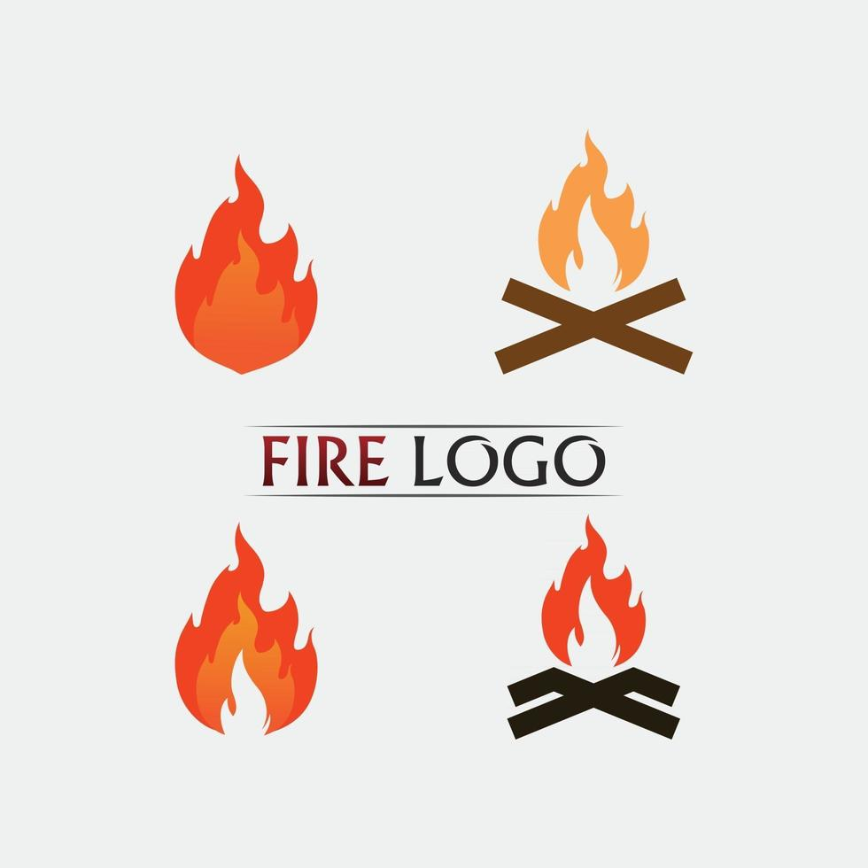 fire and flame logo design and vector hot stuff orange flamming icon set design illustration object