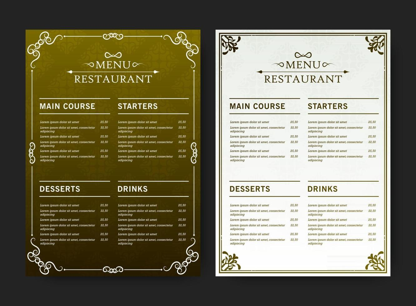 green and white restaurant menu with texture pattern elements vector