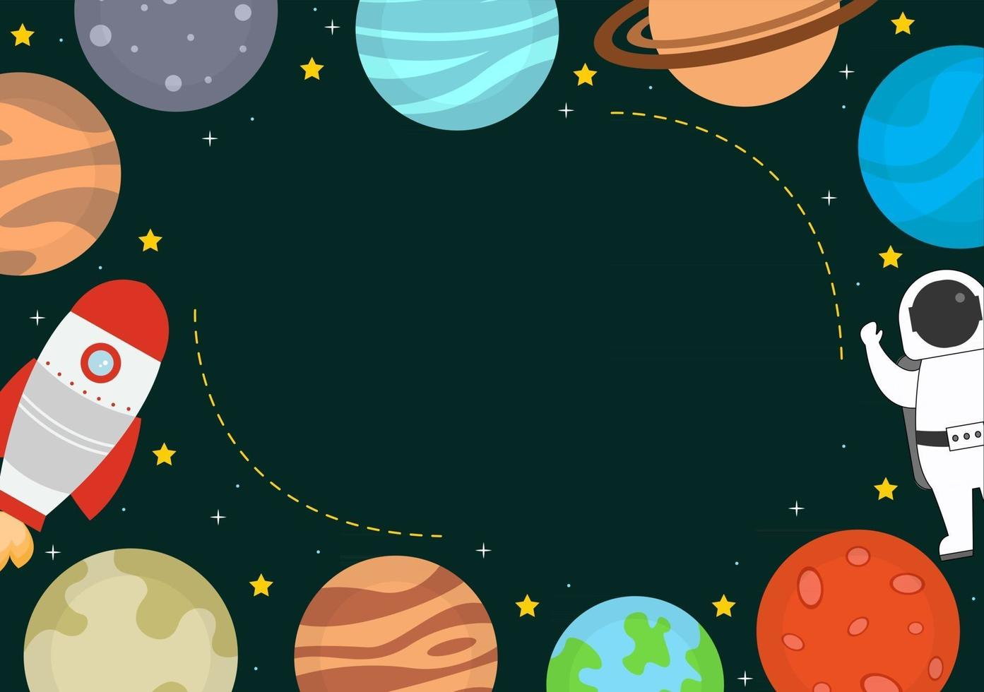 Astronaut With Rocket Background Illustration For Explore In Outer Space vector