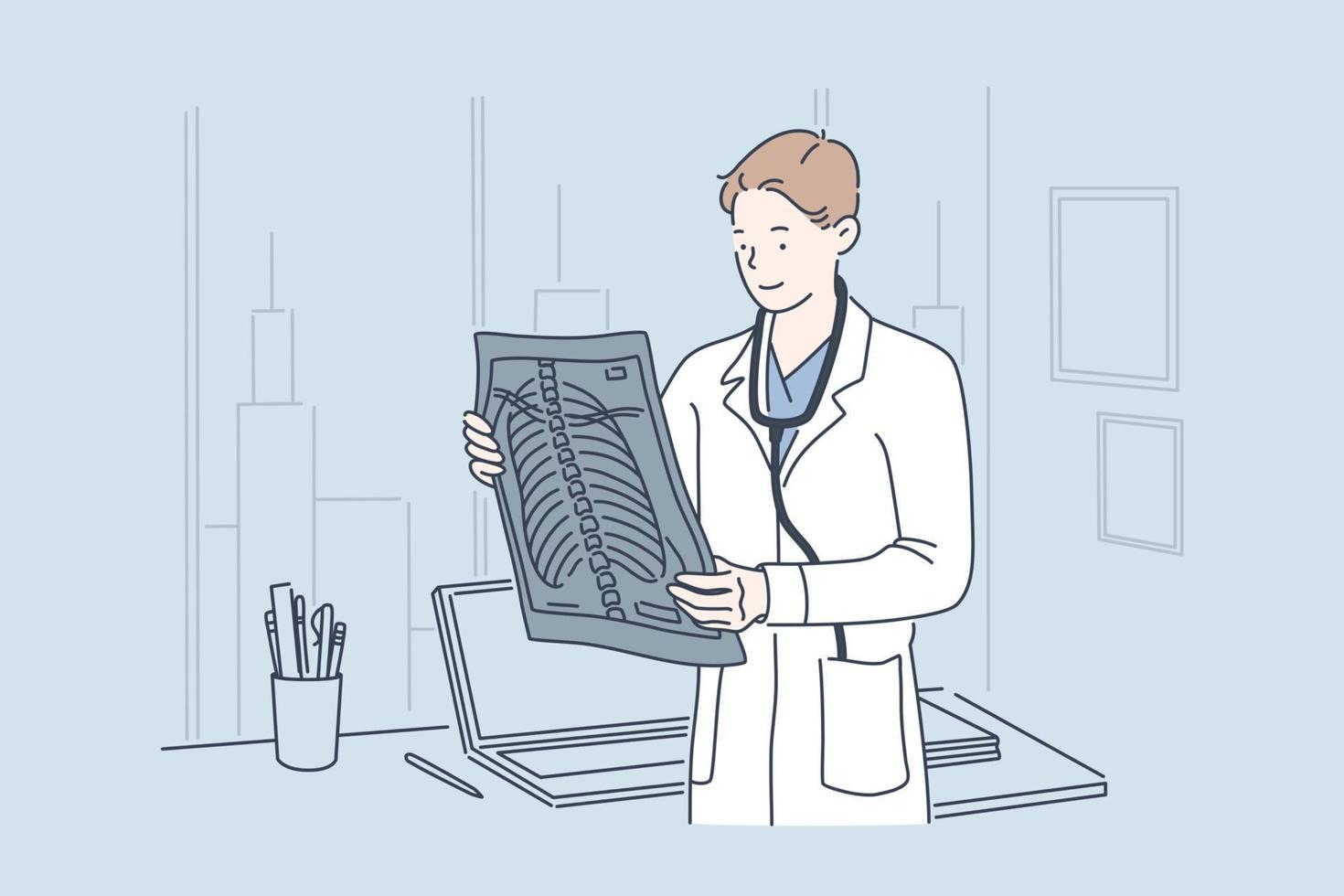 Doctor holding x-ray image concept vector