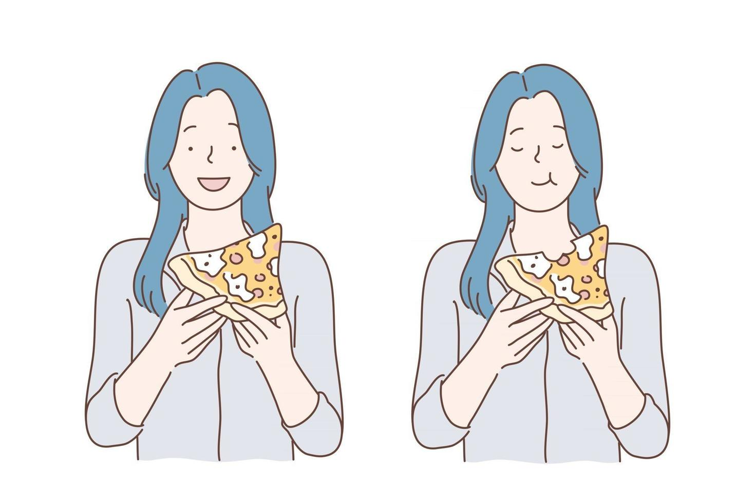Lunch, fastfood, hunger concept vector
