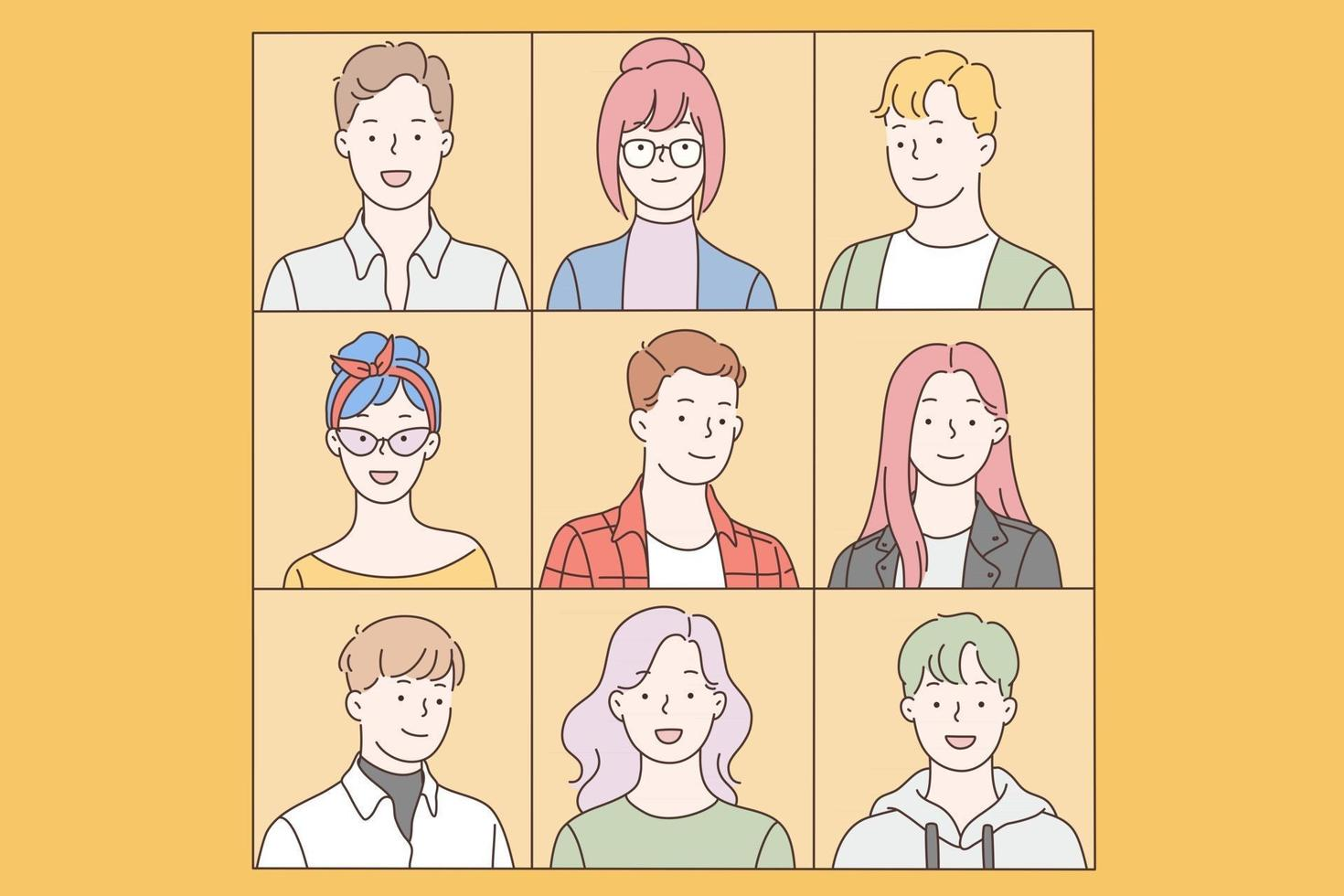 Collage, collection, people set vector