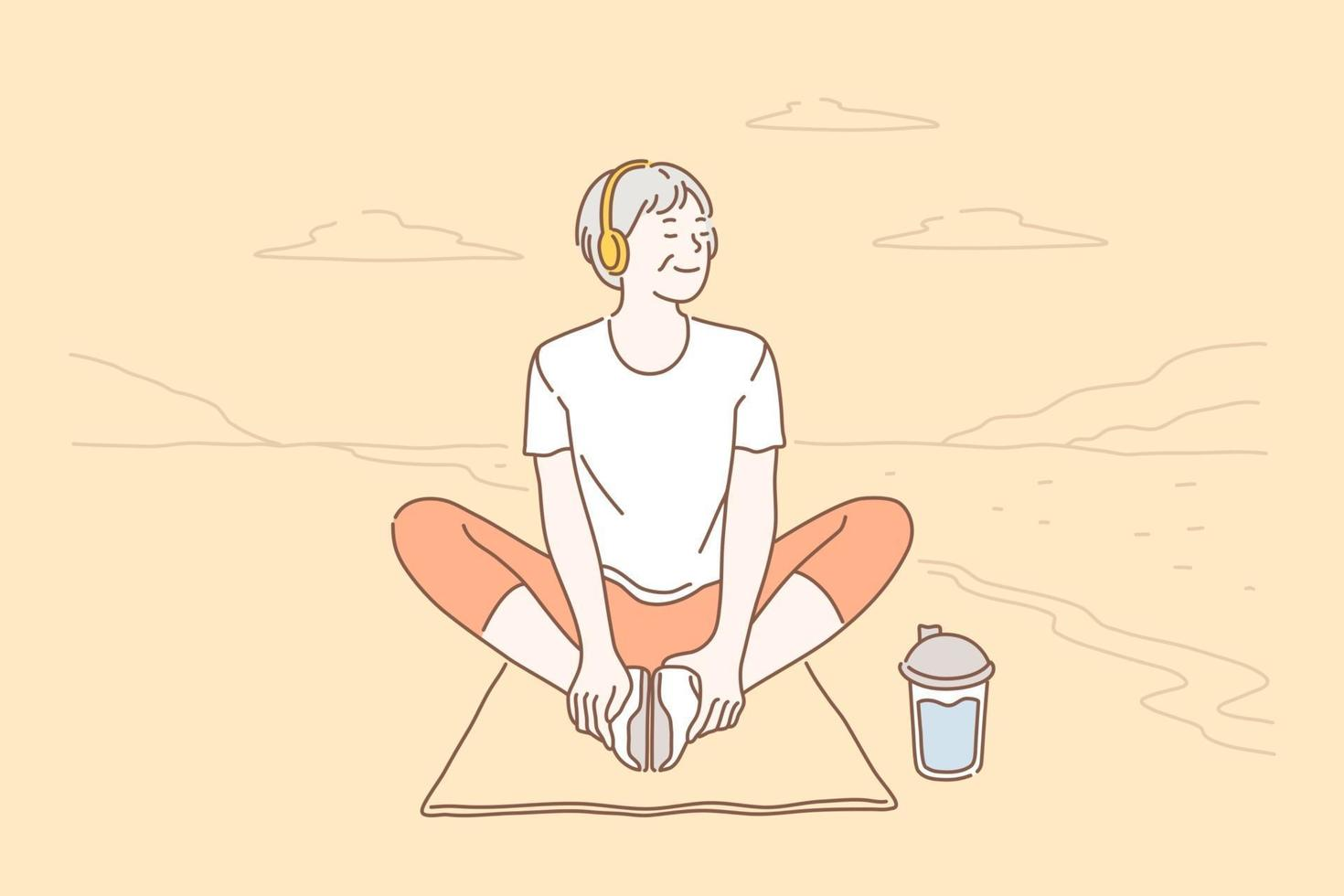 Relaxation, lifestyle, health concept vector