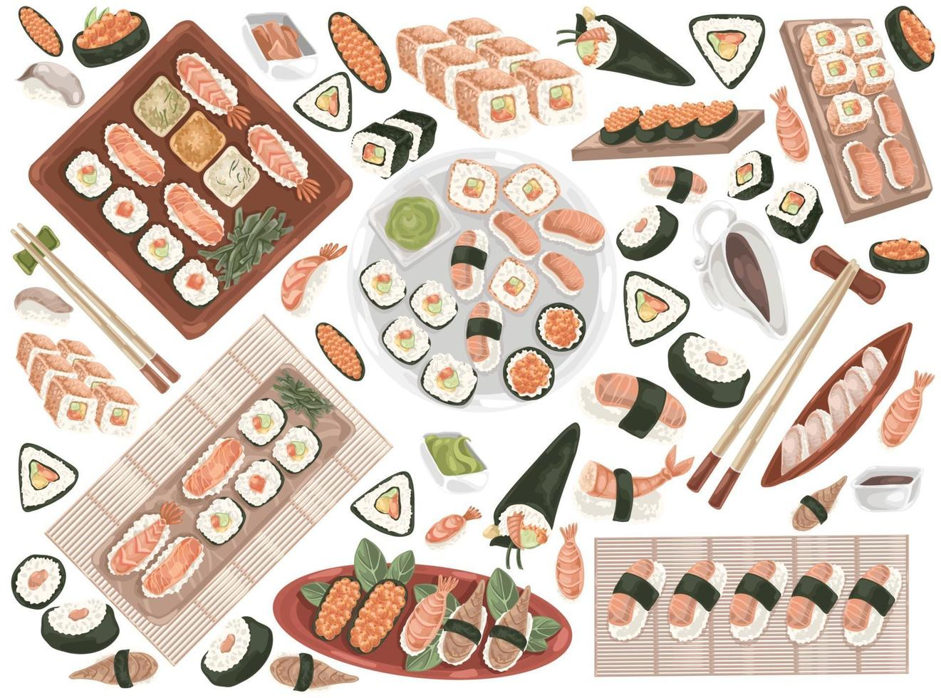 sea food set Doodle vector