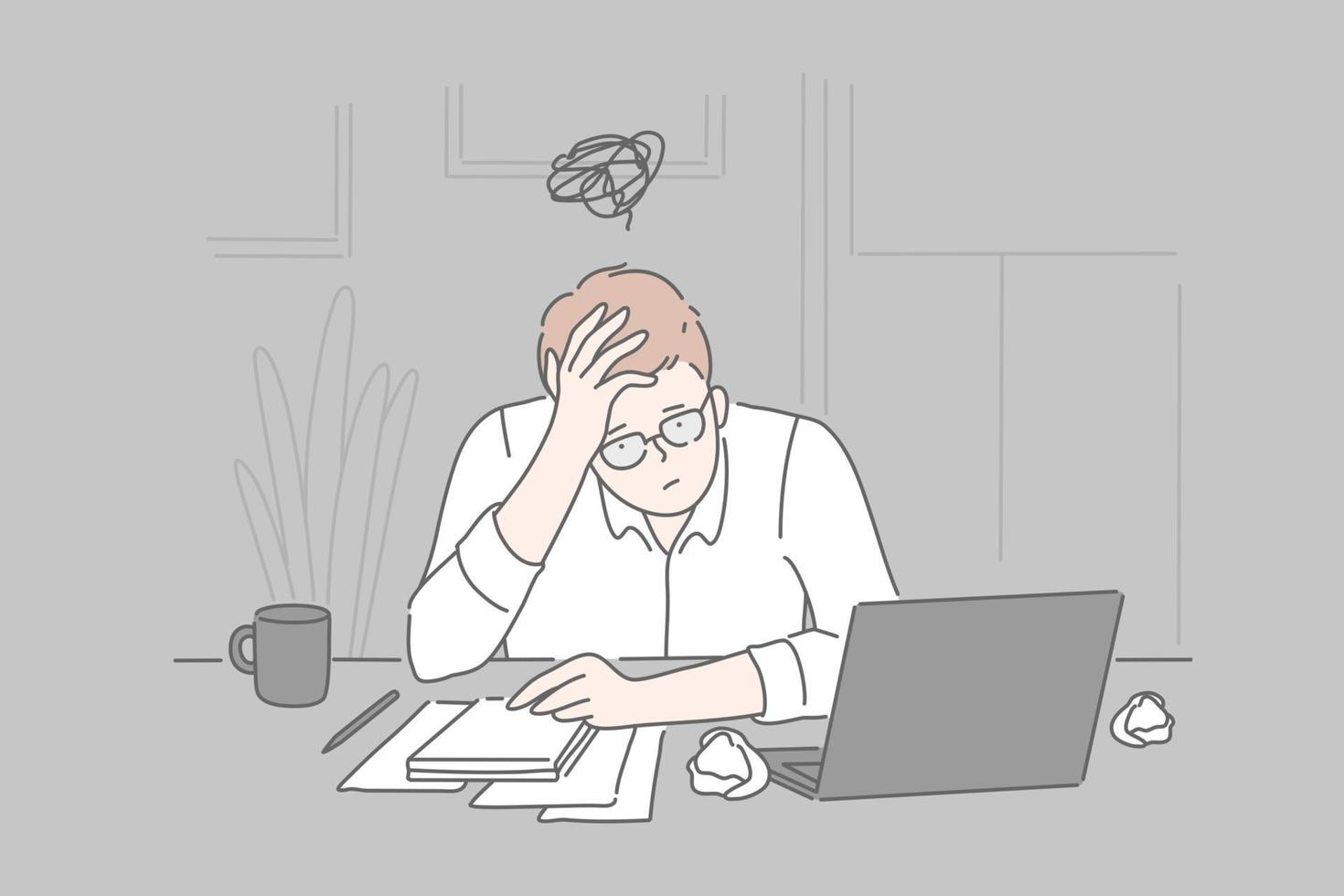 Bankruptcy, burnout, collapse concept. vector