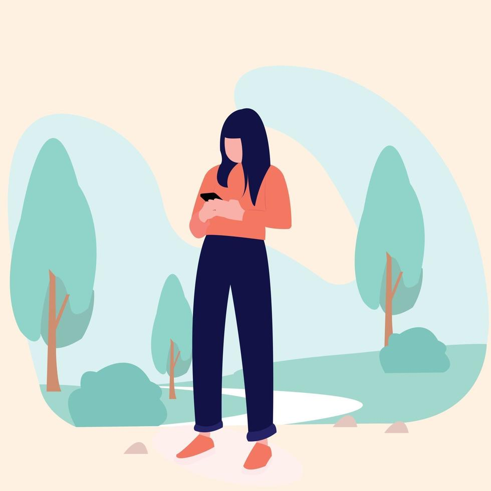 women with smartphone in the garden or park or outdoor vector