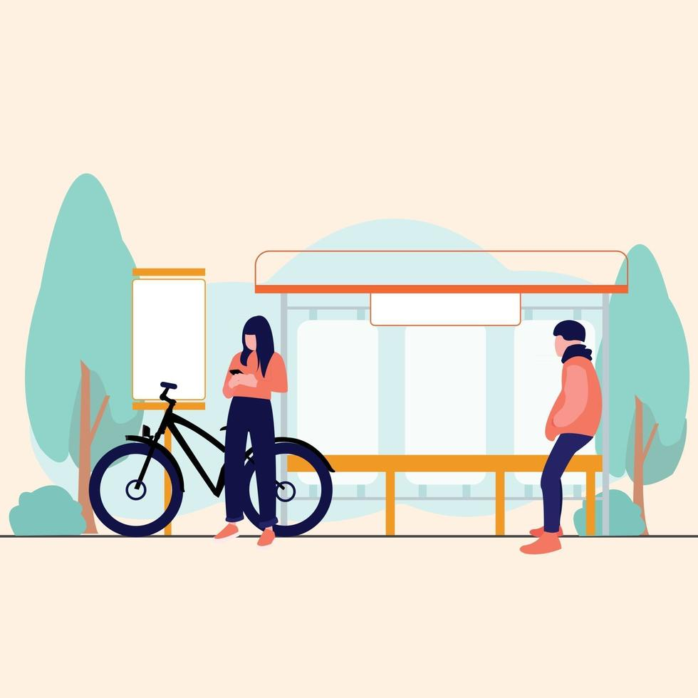women and man waiting bus in park vector