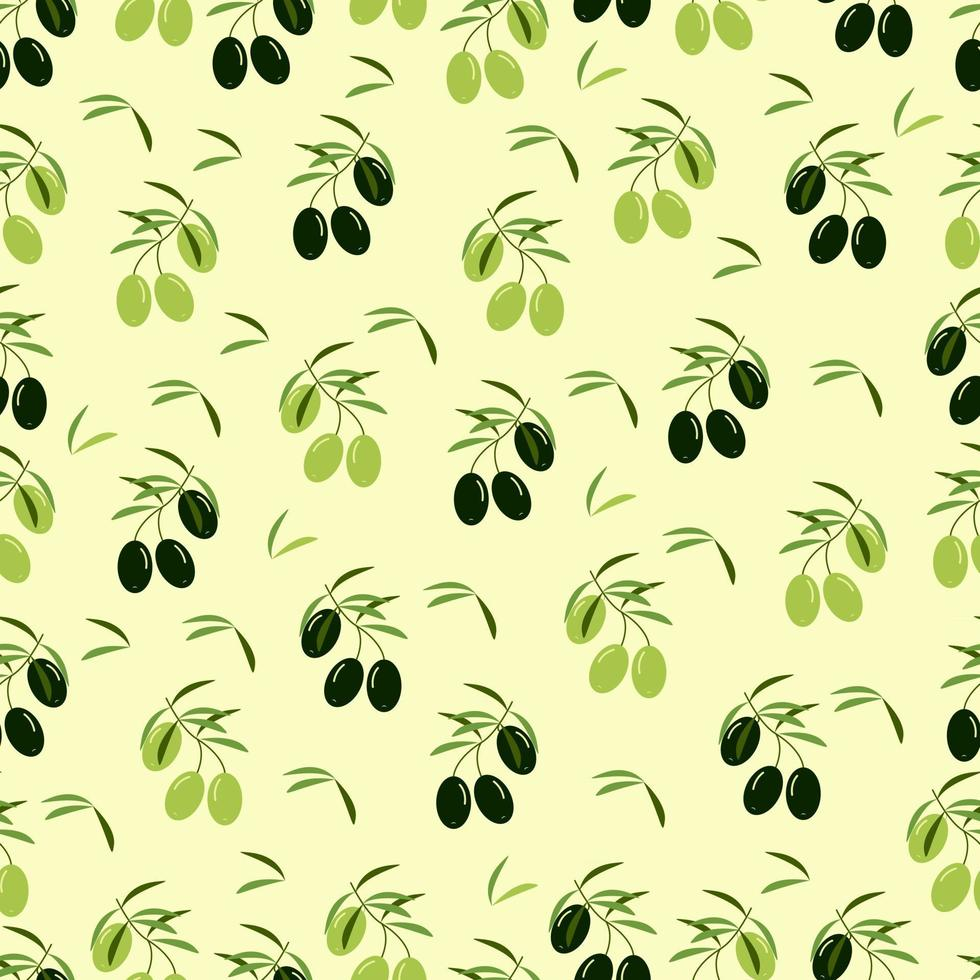 Olives seamless pattern, black and light olives, vector background in flat style