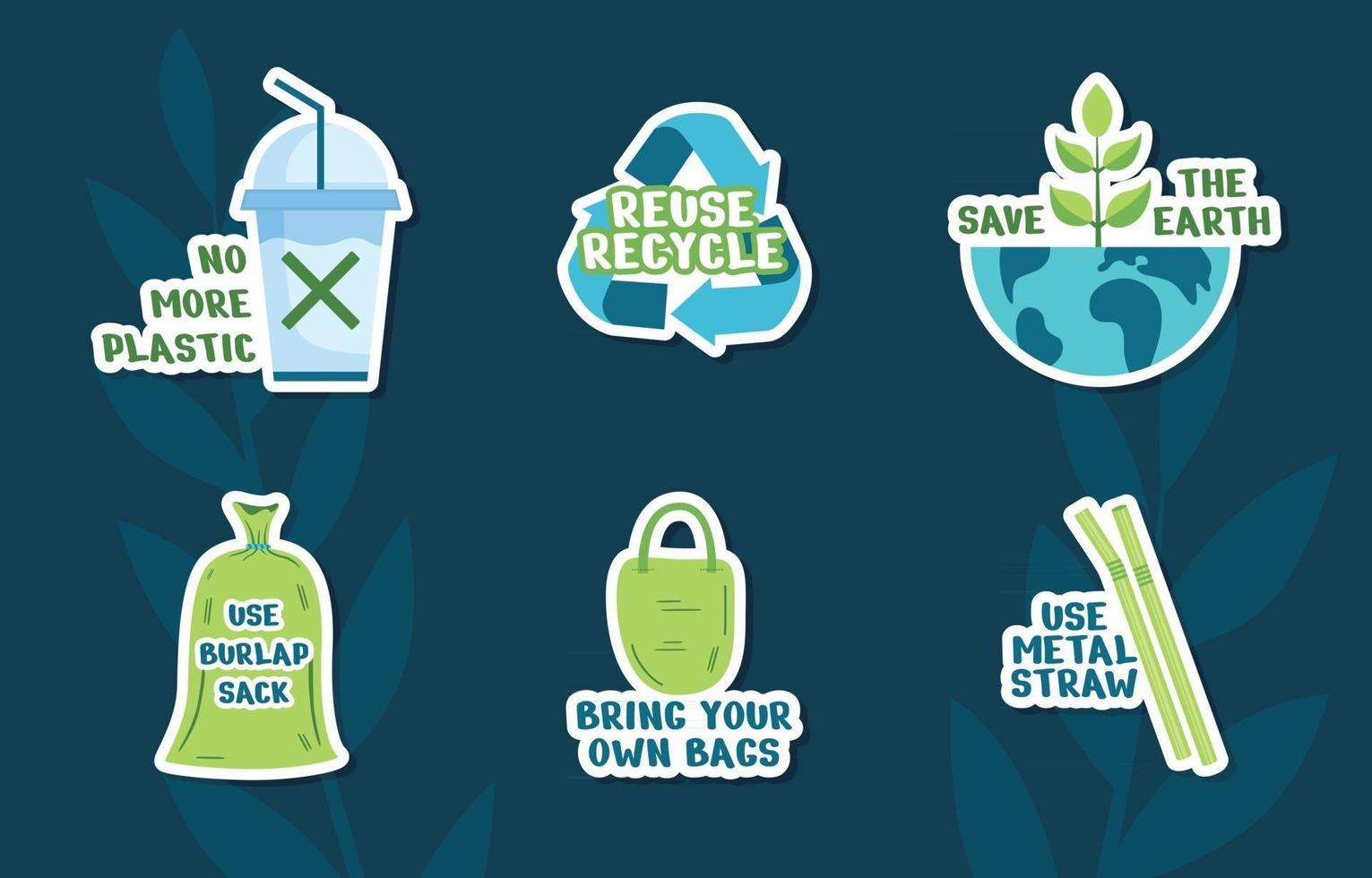 No Plastic Campaign Sticker Set vector