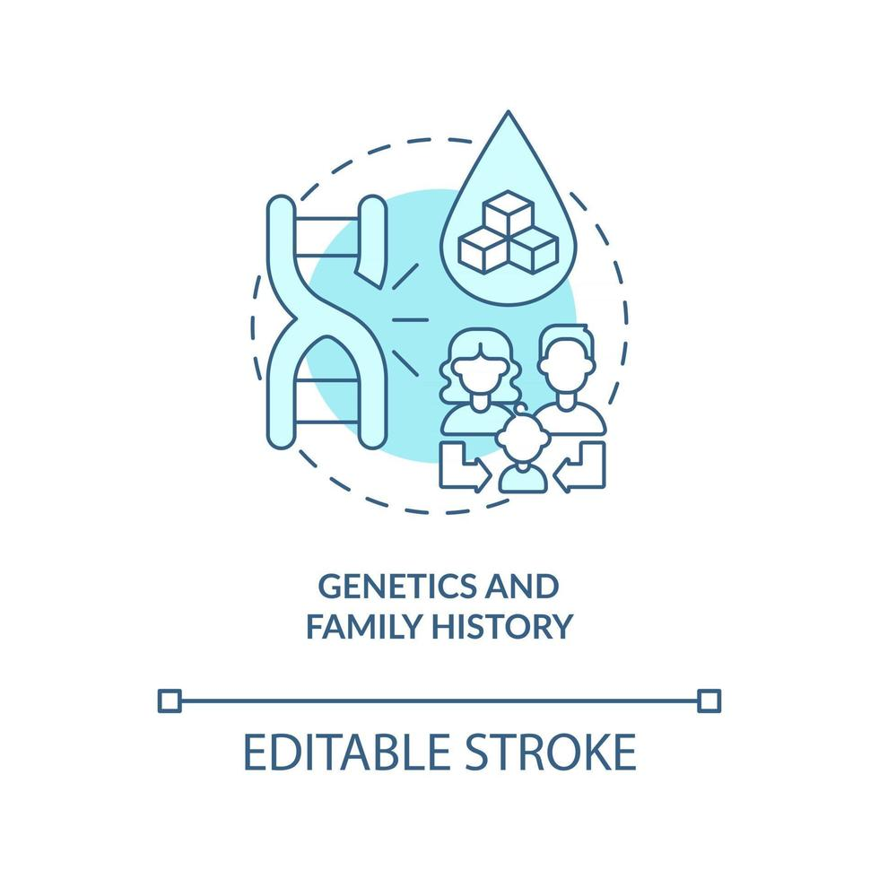 Genetics and family history concept icon. Health problems resolving. Medical treatment. Blood illness risk abstract idea thin line illustration. Vector isolated outline color drawing. Editable stroke