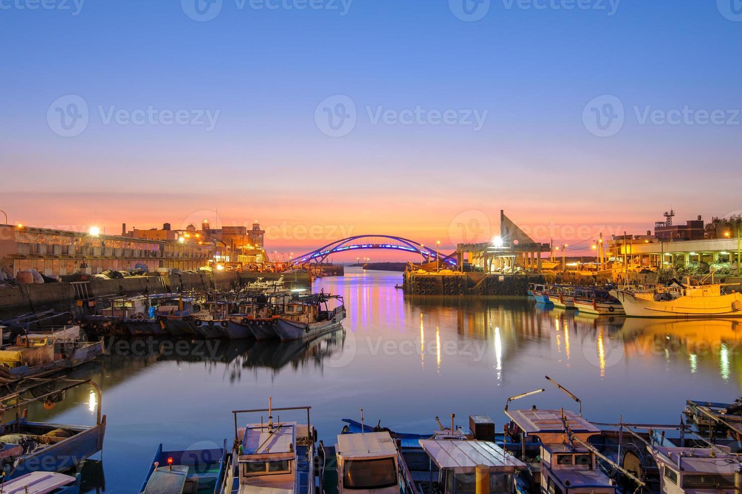 Night scene of a bridge in Taoyuan, Taiwan photo