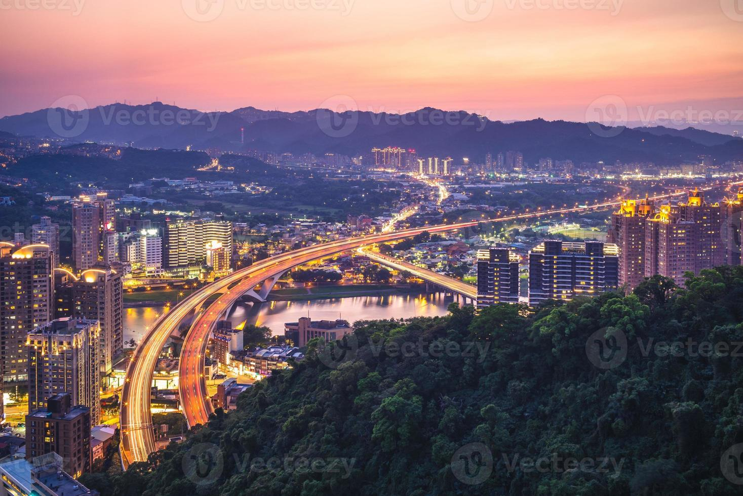 Night view of new Taipei with the highway, Taiwan photo