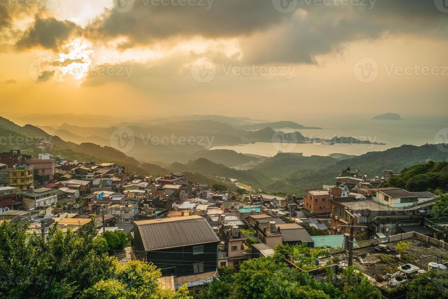 Scenery of Jiufen village in Taipei, Taiwan at dusk photo