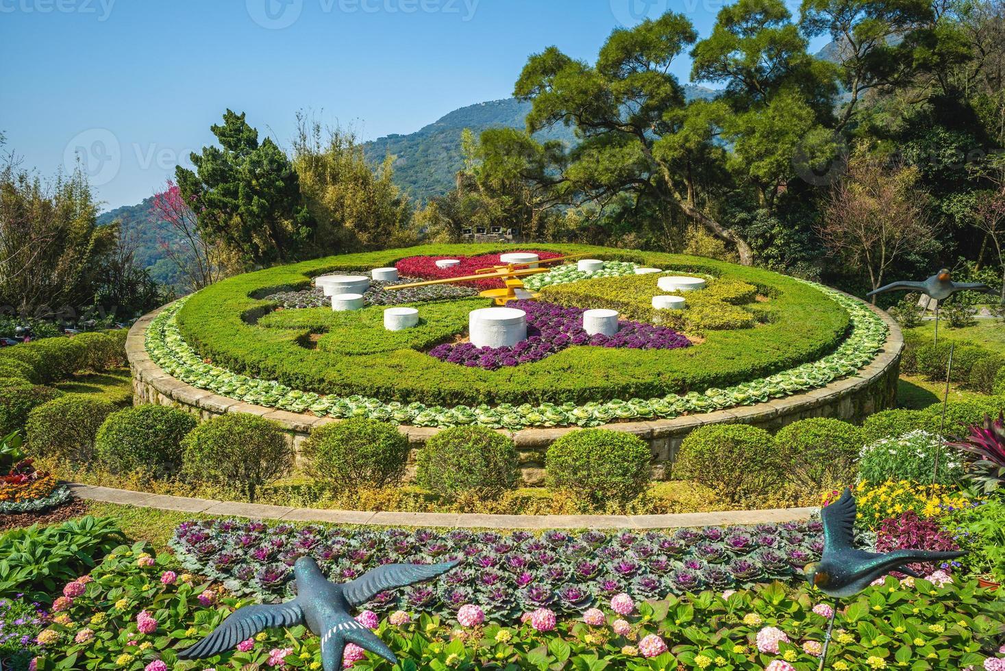 Flower clock at Yangming park in Taipei, Taiwan photo