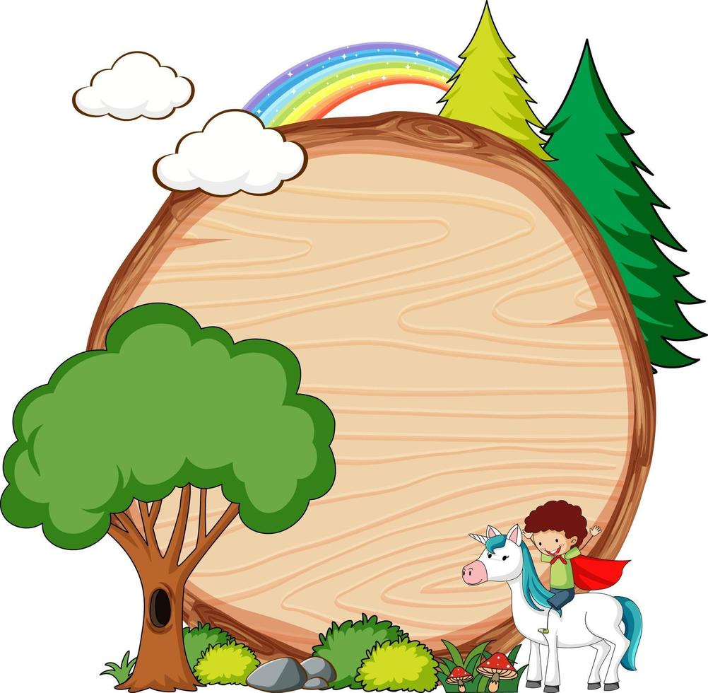 Empty wooden banner with fairy tale cartoon character and elements isolated vector