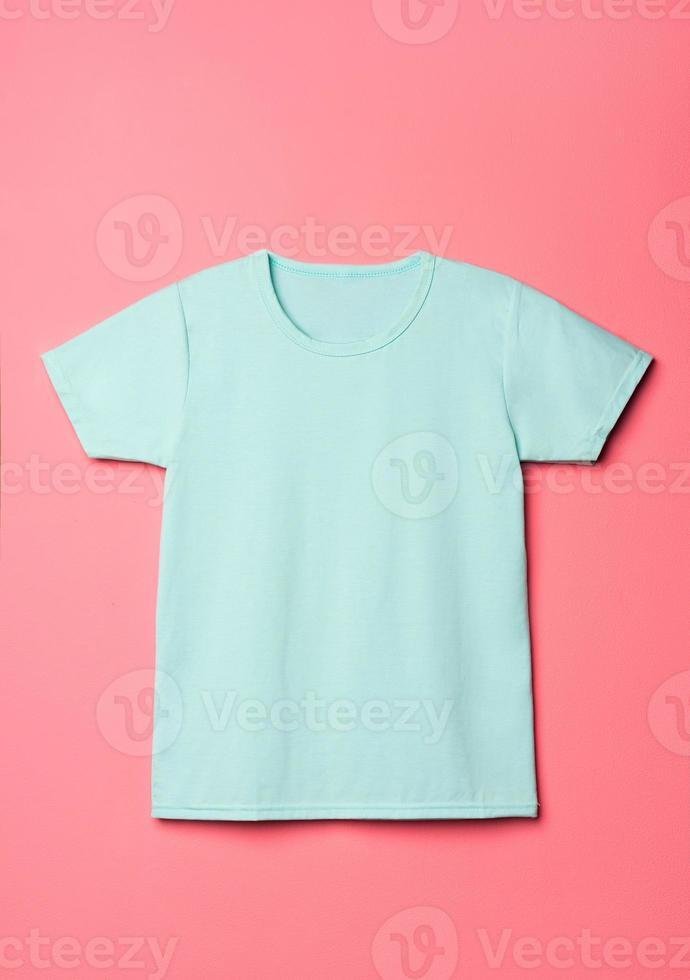 Blank cyan shirt mock up template photo