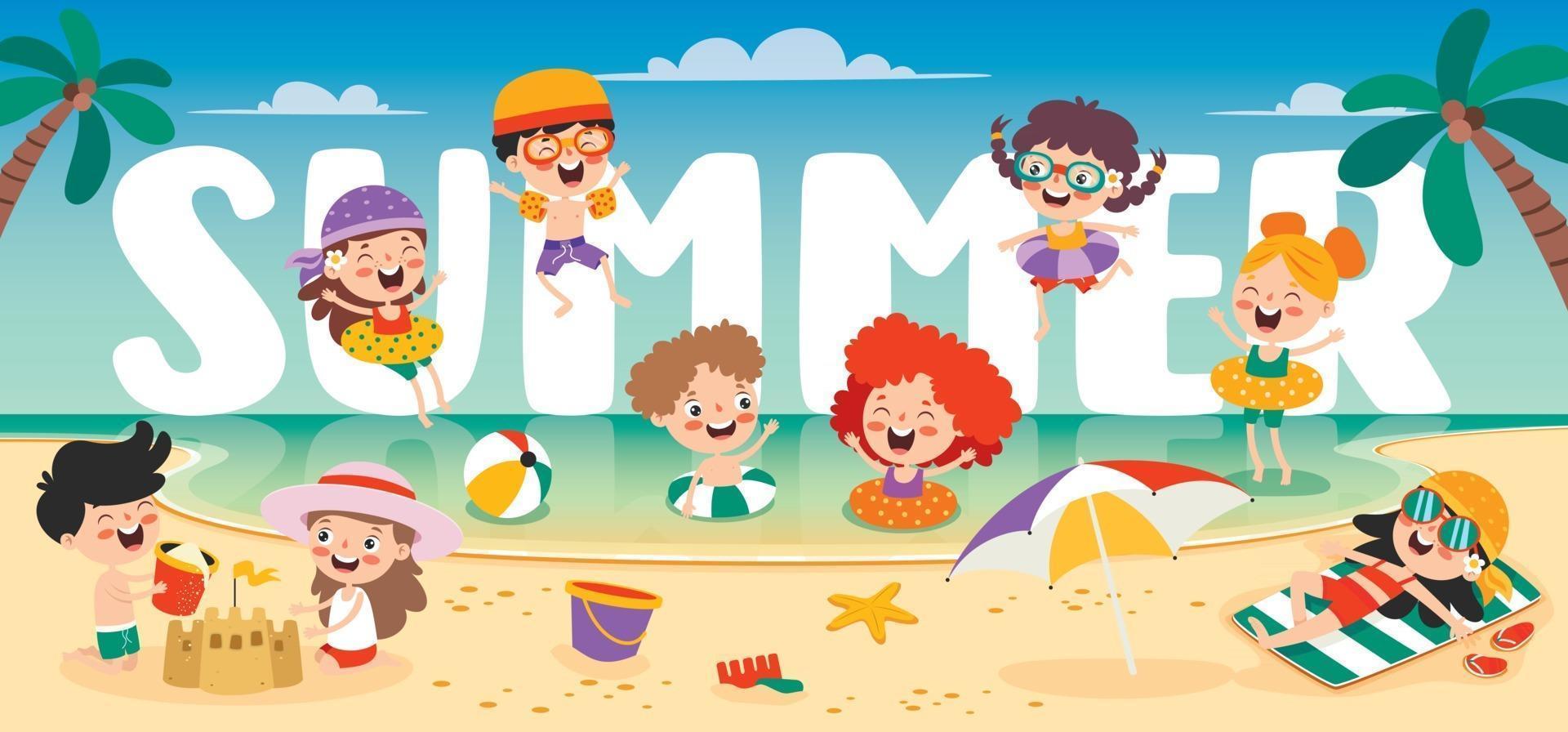 Flat Summer Banner With Cartoon Character vector