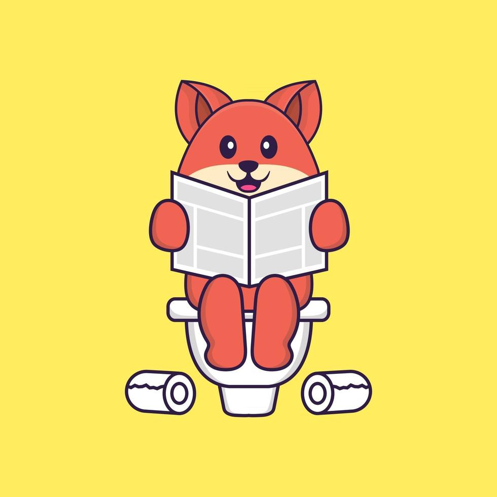 Cute fox Pooping On Toilet and read newspaper. Animal cartoon concept isolated. Can used for t-shirt, greeting card, invitation card or mascot. Flat Cartoon Style vector