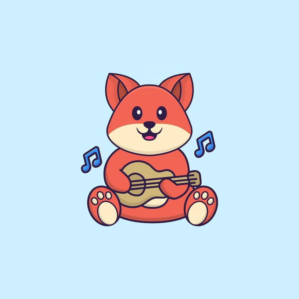 Cute fox playing guitar. Animal cartoon concept isolated. Can used for t-shirt, greeting card, invitation card or mascot. Flat Cartoon Style vector
