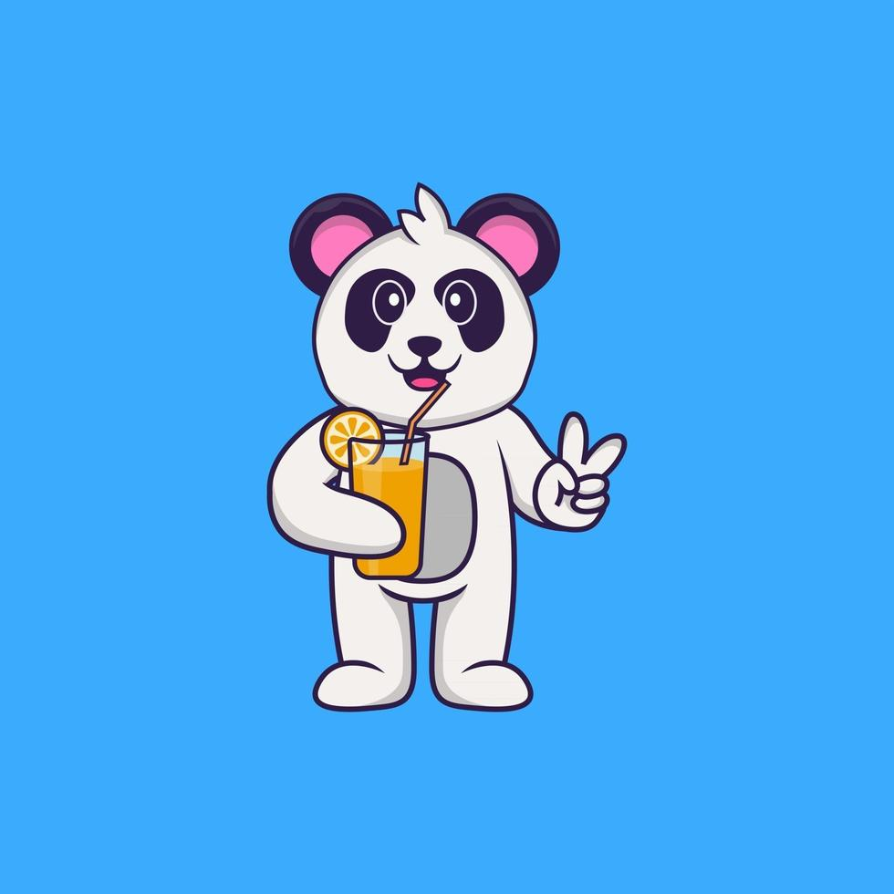 Cute Panda holding orange juice in glass. Animal cartoon concept isolated. Can used for t-shirt, greeting card, invitation card or mascot. Flat Cartoon Style vector