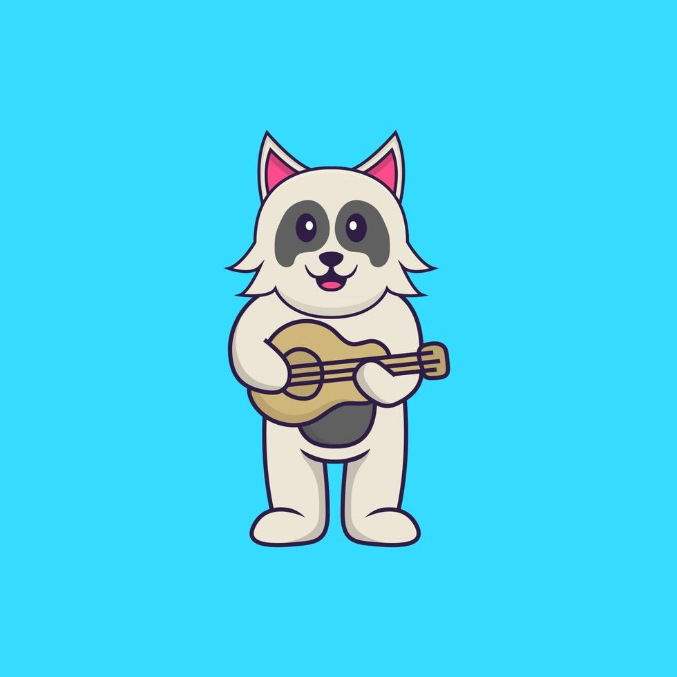 Cute dog playing guitar. Animal cartoon concept isolated. Can used for t-shirt, greeting card, invitation card or mascot. Flat Cartoon Style vector