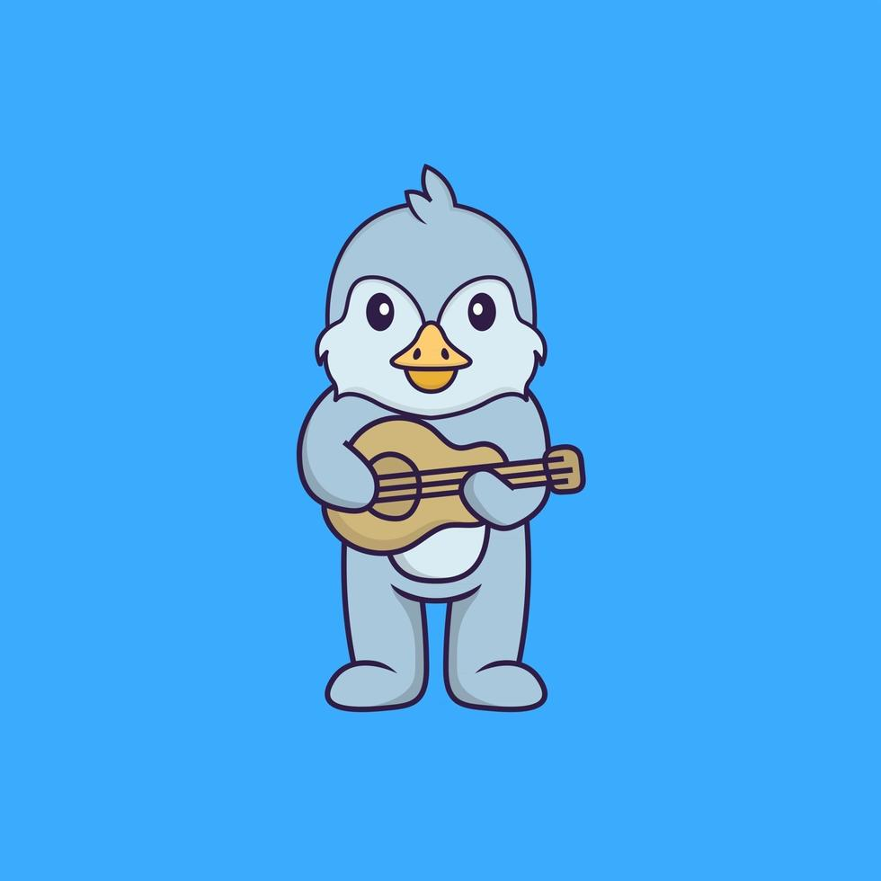 Cute bird playing guitar. Animal cartoon concept isolated. Can used for t-shirt, greeting card, invitation card or mascot. Flat Cartoon Style vector