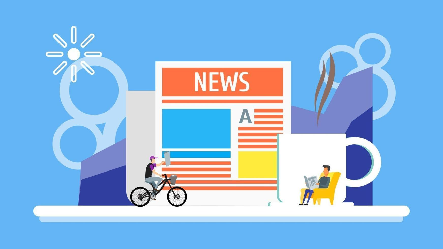 Business man reading newspaper with cup of coffee background. man rides on bicycle with news headline concept. Flay Tiny People Character. landing page design template Vector Illustration.