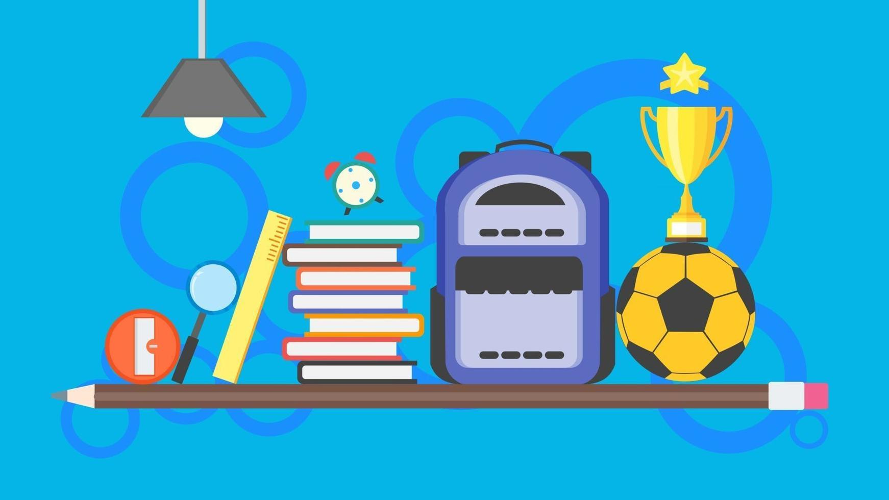 Back to school poster background. learning banner concept with backpack, pile of books, soccer ball, pencil, trophy, ruler, and education item. flat design vector illustration.