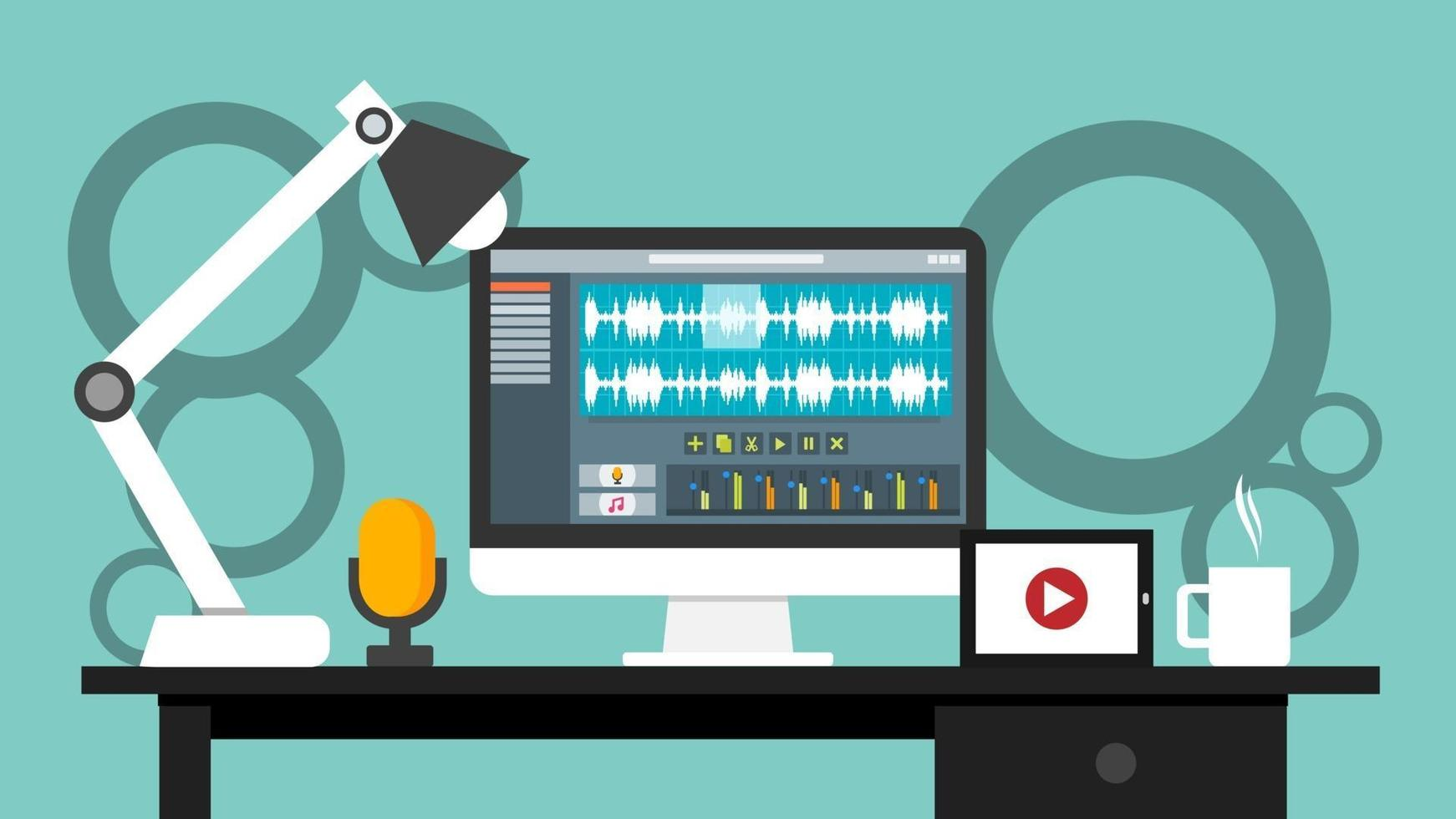 Workplace of sound and video editor interface software application on computer monitor. recording and editing process with wave digital display and buttons on screen. vector illustration.