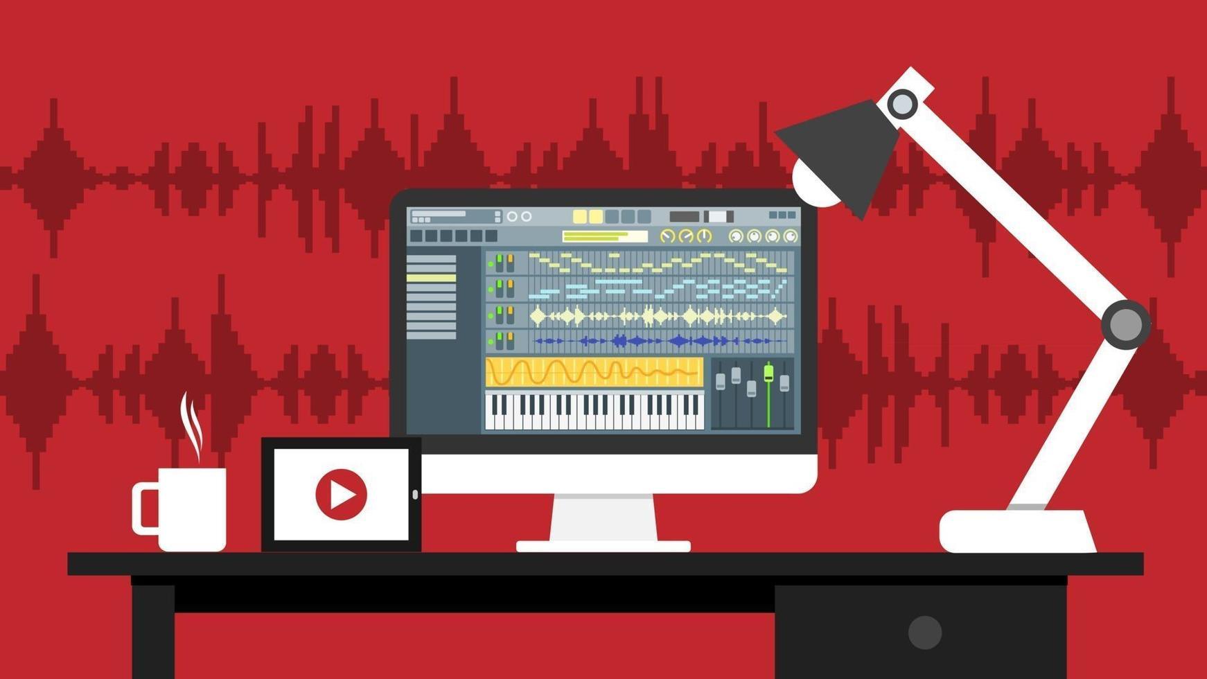 lugar de trabajo de la aplicación de software de interfaz de editor de sonido y video en el monitor de la computadora. Proceso de grabación y edición con display digital de ondas y botones en pantalla. ilustración vectorial. vector