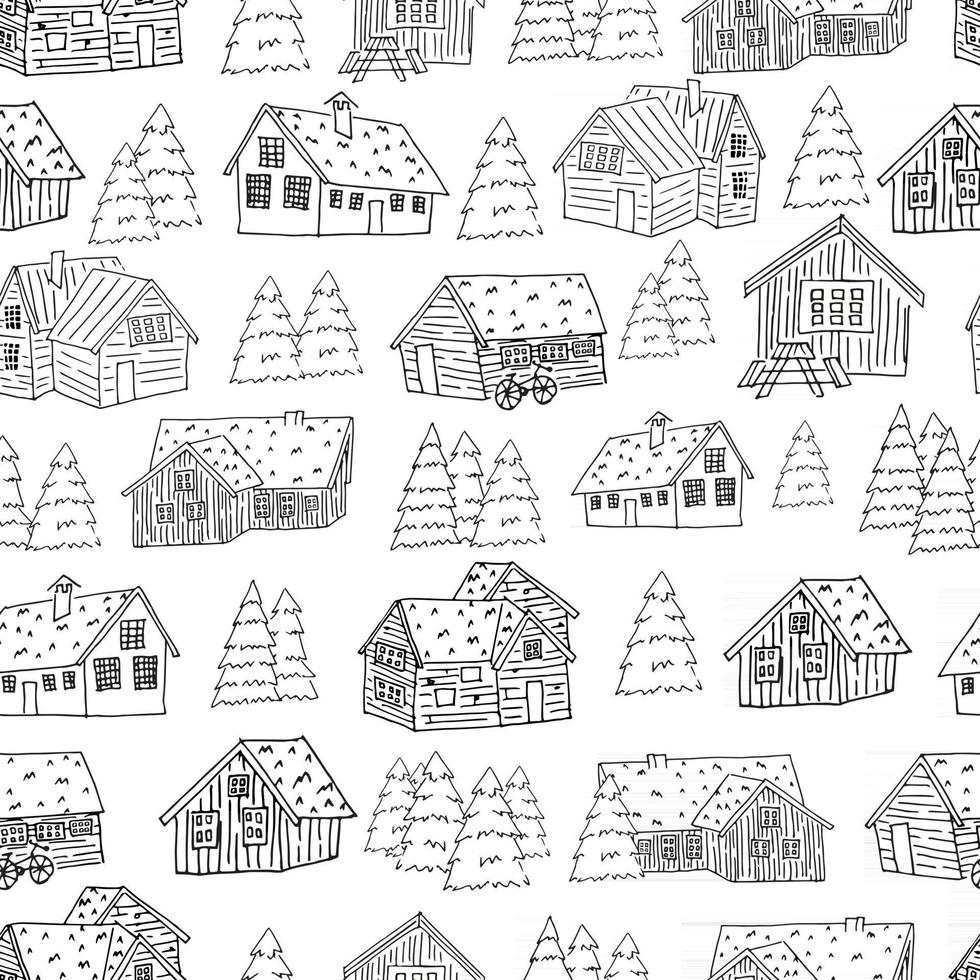 Black-white seamless pattern of houses and christmas trees for coloring book or card. Vector hand drawn cartoon illustration
