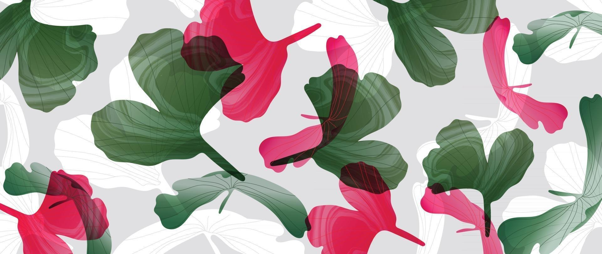 Abstract art tropical leaves background vector. Wallpaper design with watercolor art texture from palm leaves, Jungle leaves, monstera leaf, exotic botanical floral pattern. vector