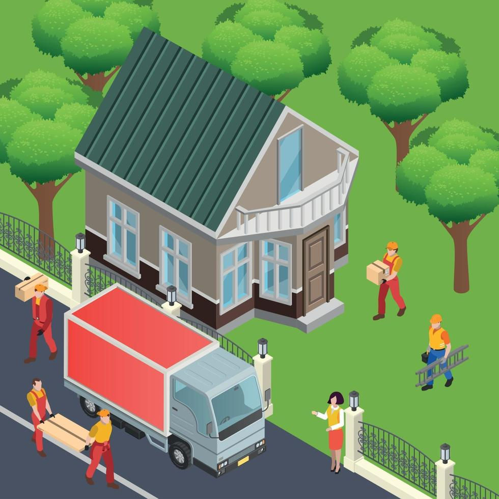 Finish Materials Delivery Composition Vector Illustration