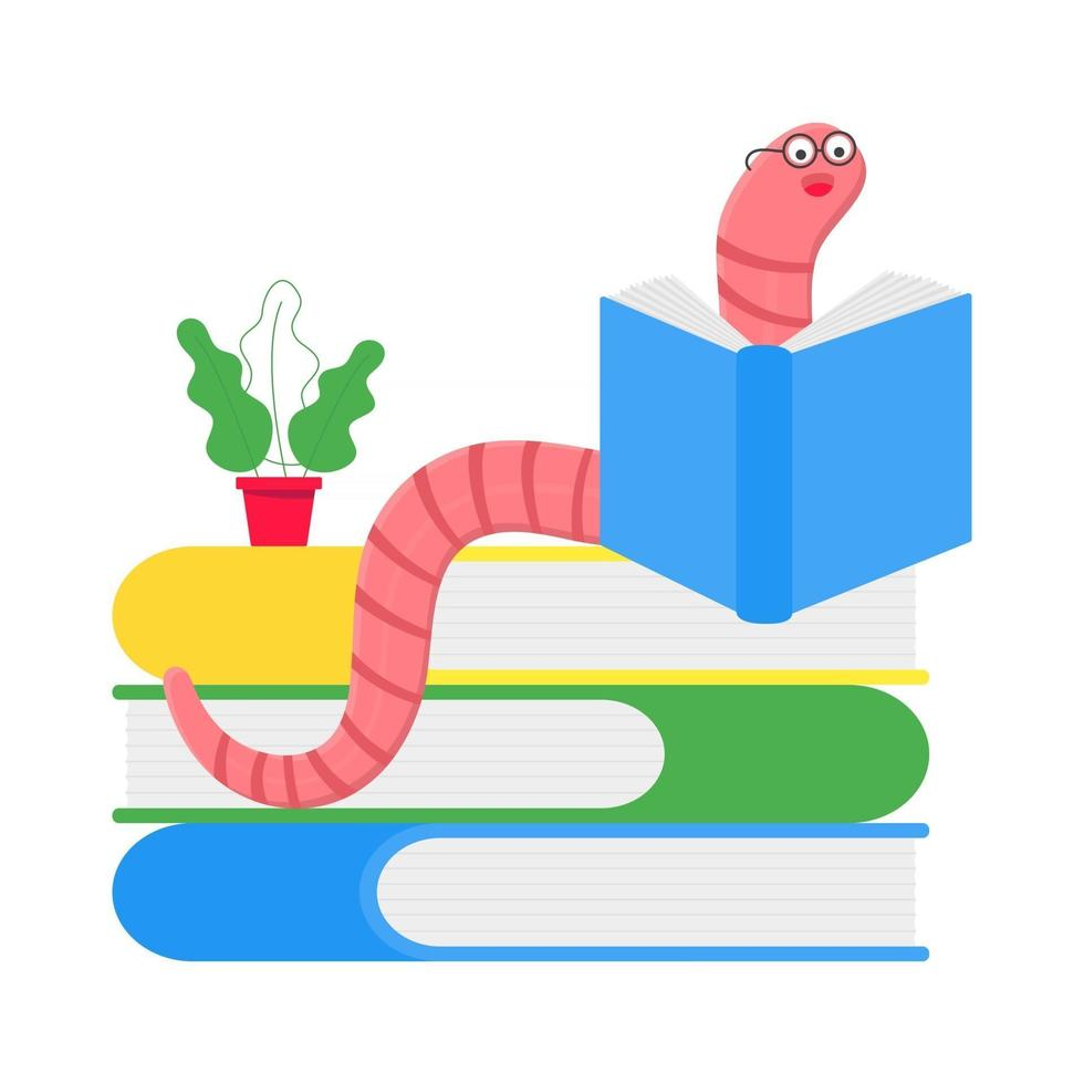 Cartoon style earthworm with book and glasses vector illustration