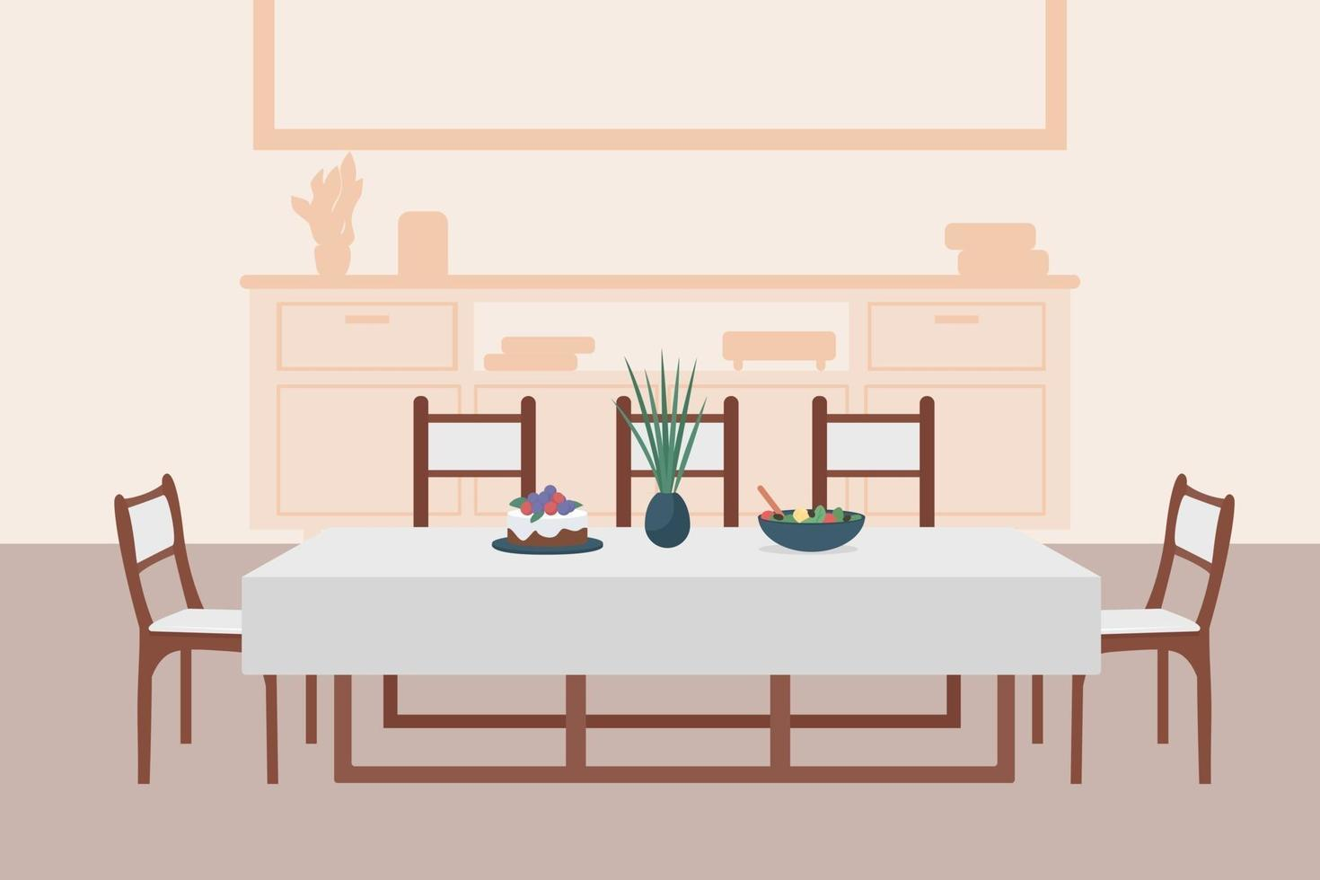 Luxury dining room flat color vector illustration