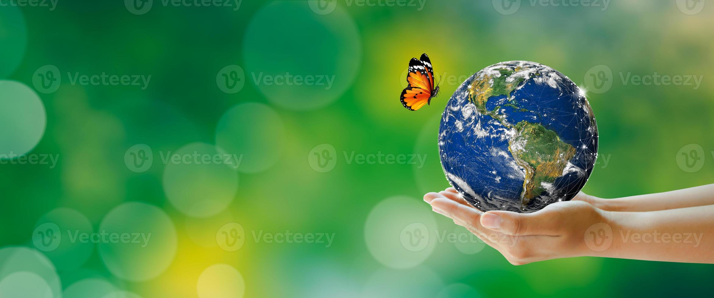 Hand holding earth with butterfly over green blur background photo