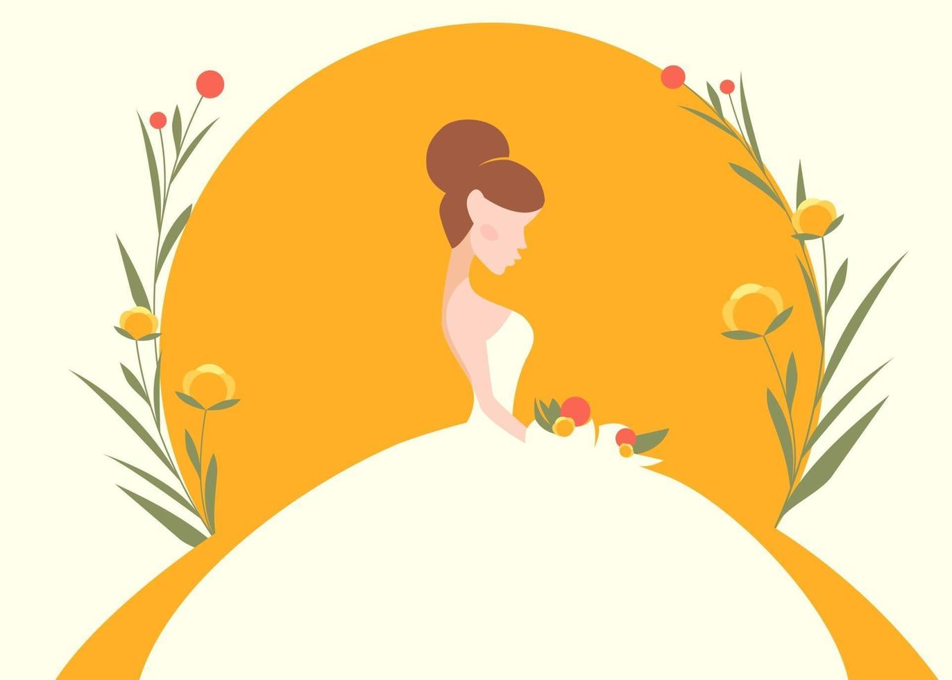 Banner template with bride silhouette. vector
