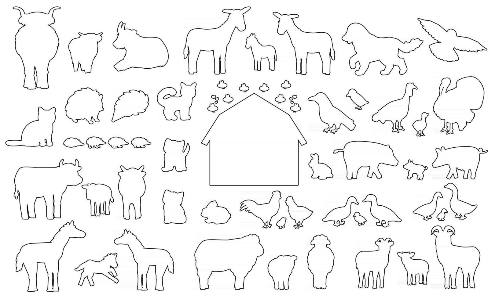 Big set of doodle silhouette cartoon farm animals icons. Vector collection of donkey goose cow bull pig hog chicken hen rooster goat sheep duck horse turkey cat dog hedgehog rabbit bunny birds